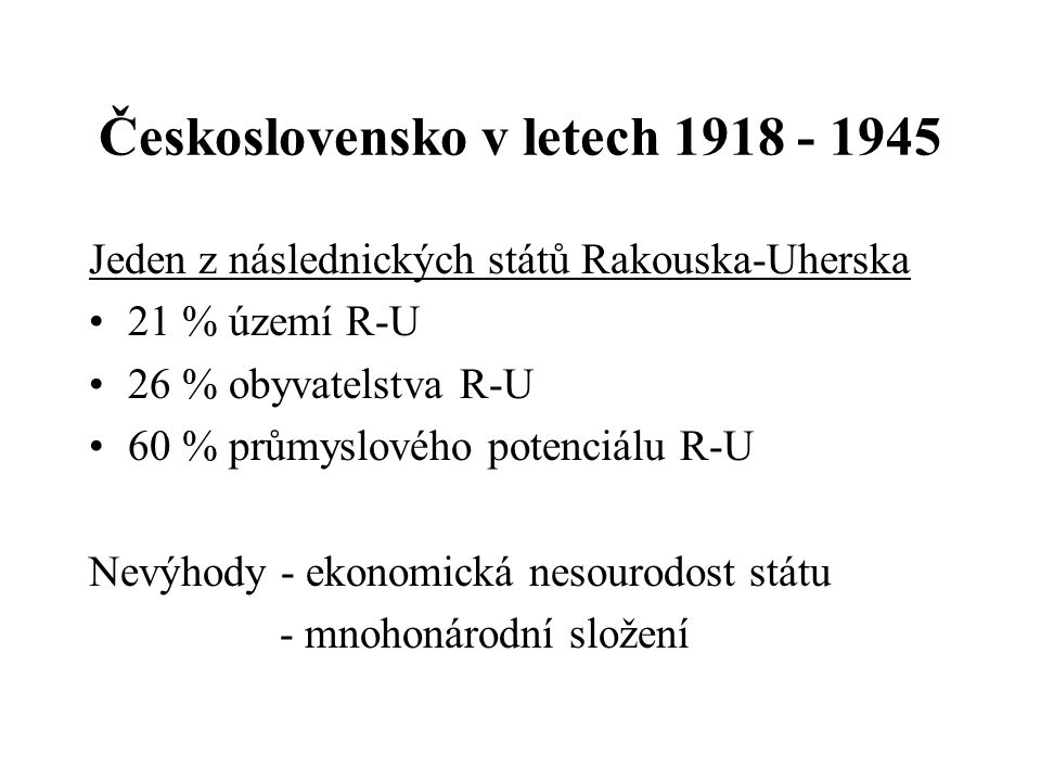 Československo v letech 1918 - 1945