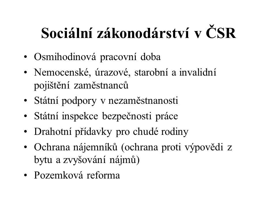 Sociální zákonodárství v ČSR