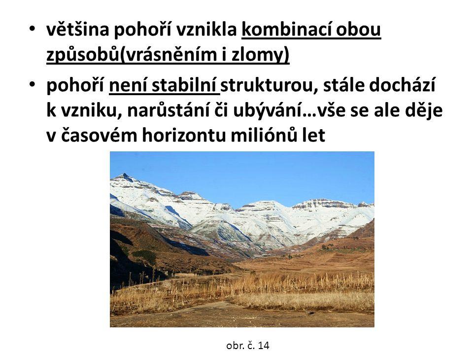 většina pohoří vznikla kombinací obou způsobů(vrásněním i zlomy)