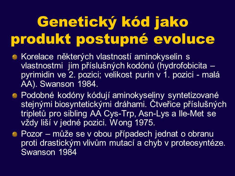 Genetický kód jako produkt postupné evoluce