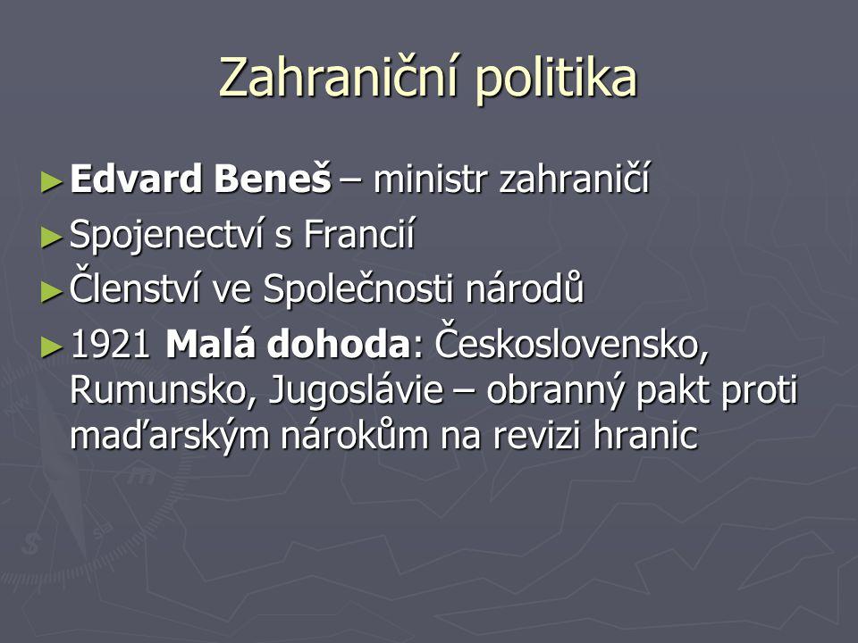 Zahraniční politika Edvard Beneš – ministr zahraničí