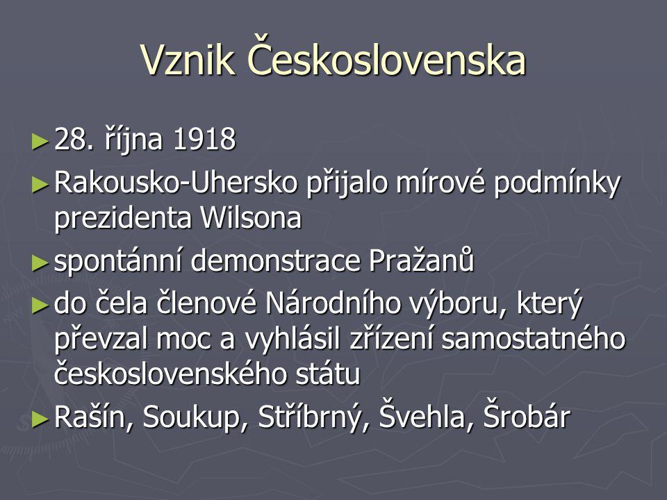Vznik Československa 28. října 1918