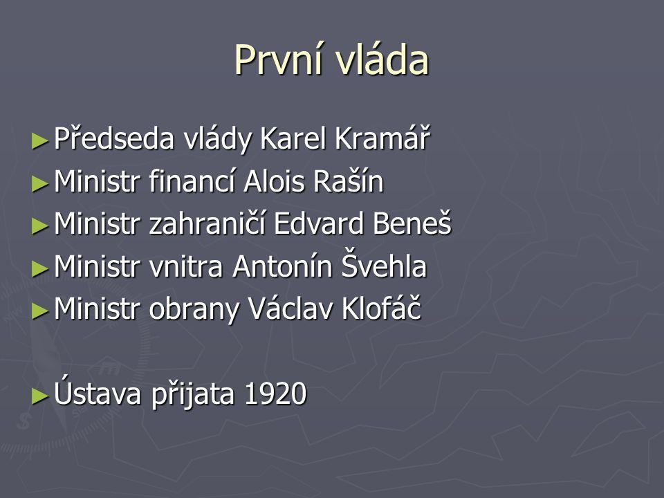 První vláda Předseda vlády Karel Kramář Ministr financí Alois Rašín