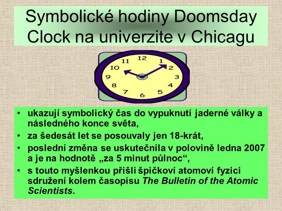 Symbolické hodiny Doomsday Clock na univerzite v Chicagu
