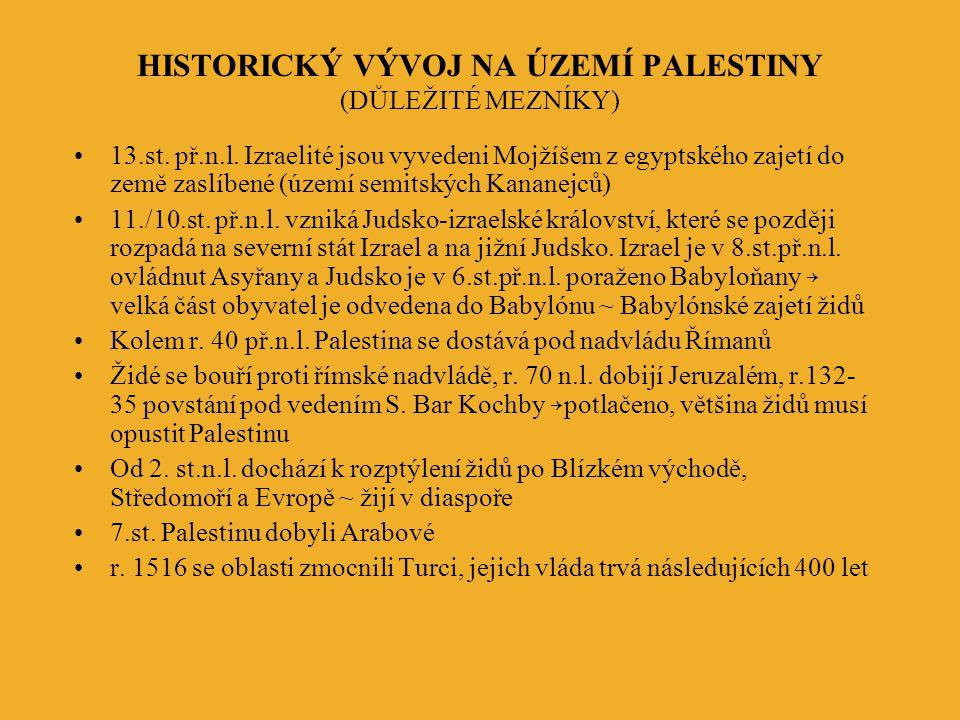 HISTORICKÝ VÝVOJ NA ÚZEMÍ PALESTINY (DŮLEŽITÉ MEZNÍKY)