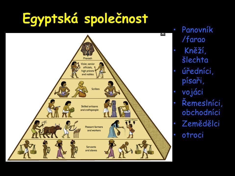 Egyptská společnost Panovník /farao Kněží, šlechta úředníci, písaři,