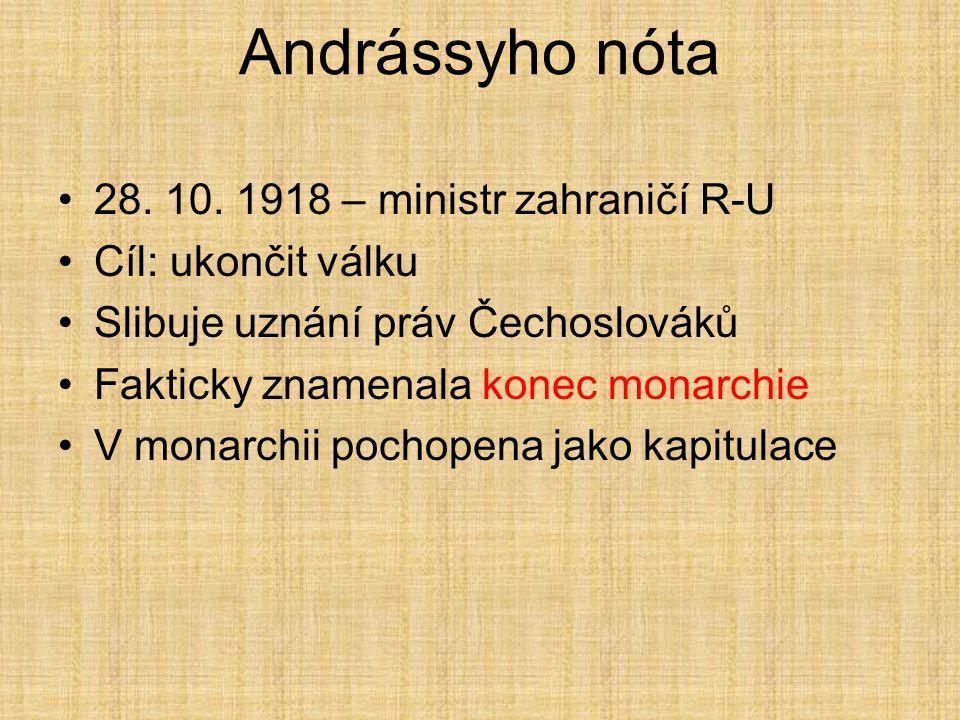Andrássyho nóta 28. 10. 1918 – ministr zahraničí R-U