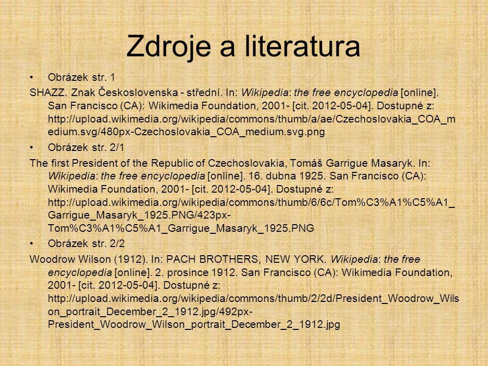 Zdroje a literatura Obrázek str. 1