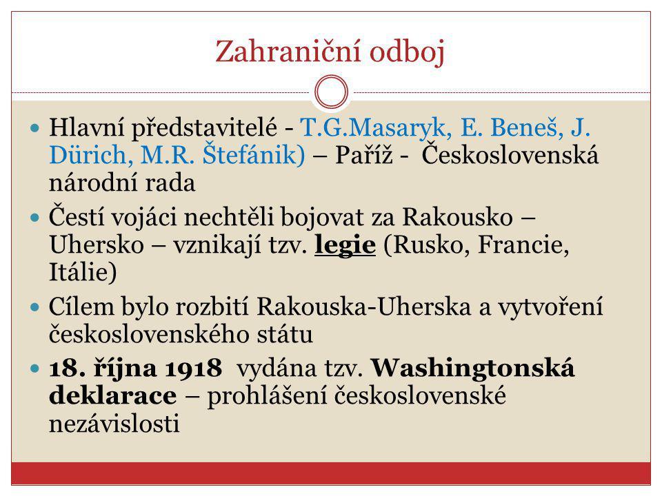 Zahraniční odboj Hlavní představitelé - T.G.Masaryk, E. Beneš, J. Dürich, M.R. Štefánik) – Paříž - Československá národní rada.