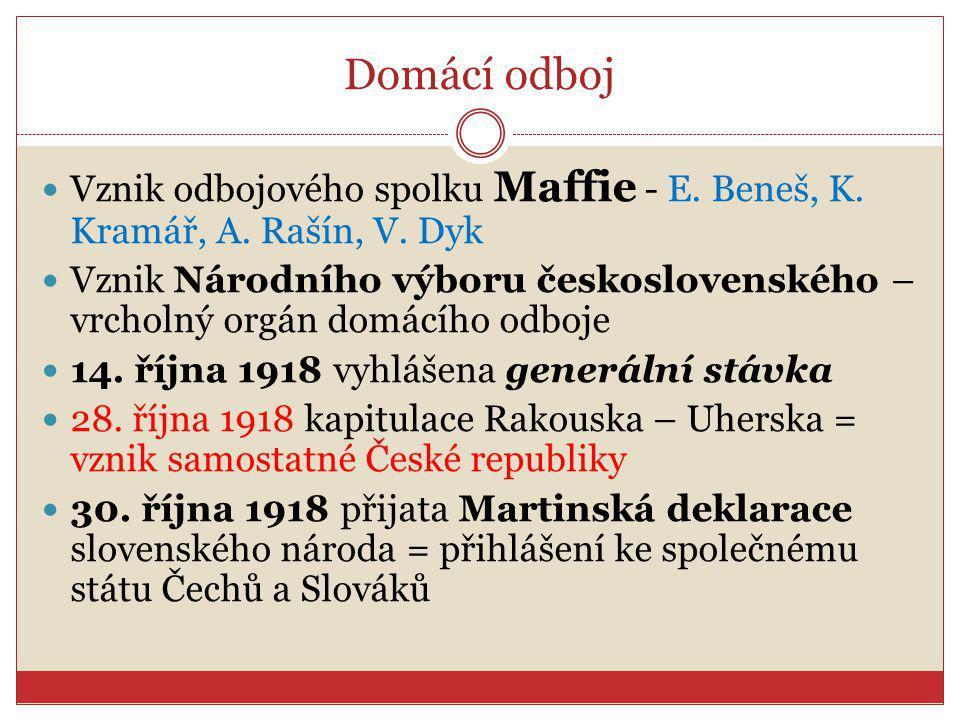 Domácí odboj Vznik odbojového spolku Maffie - E. Beneš, K. Kramář, A. Rašín, V. Dyk.