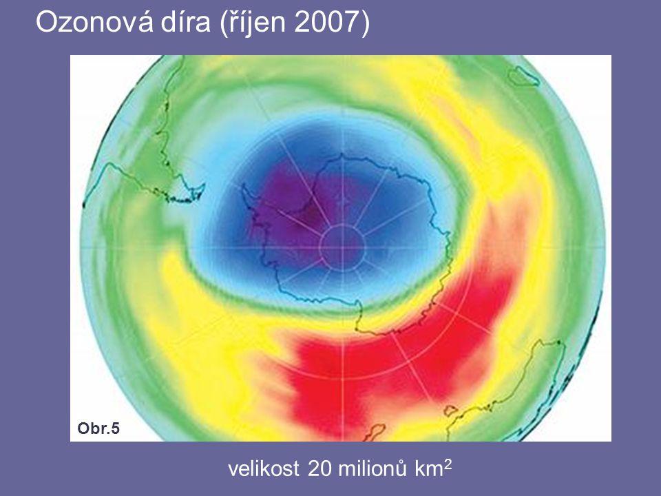 Ozonová díra (říjen 2007) Obr.5 velikost 20 milionů km2