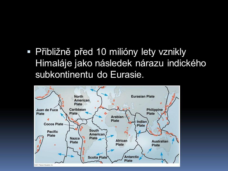 Přibližně před 10 milióny lety vznikly Himaláje jako následek nárazu indického subkontinentu do Eurasie.