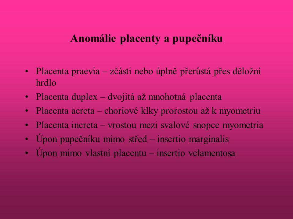 Anomálie placenty a pupečníku