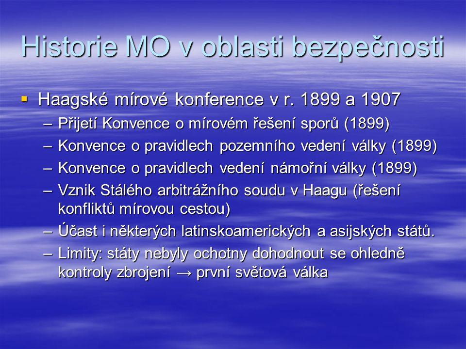 Historie MO v oblasti bezpečnosti