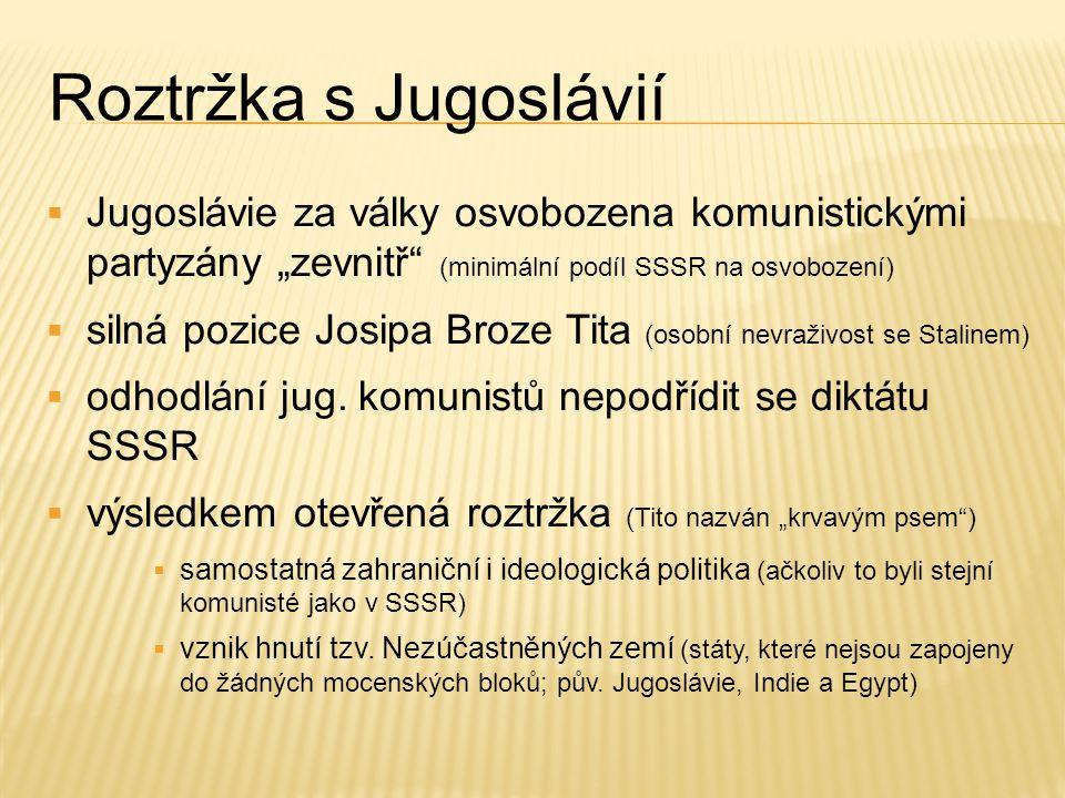 """Roztržka s Jugoslávií Jugoslávie za války osvobozena komunistickými partyzány """"zevnitř (minimální podíl SSSR na osvobození)"""