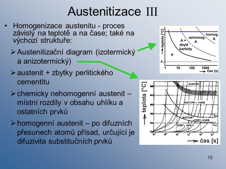 Austenitizace III Homogenizace austenitu - proces závislý na teplotě a na čase; také na výchozí struktuře: