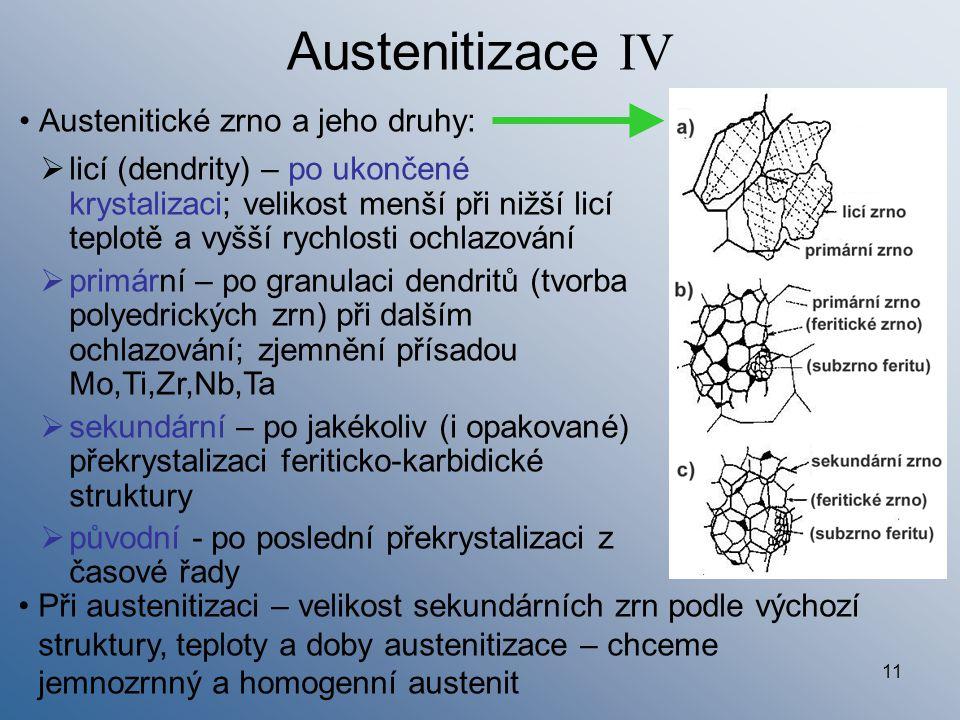 Austenitizace IV Austenitické zrno a jeho druhy: