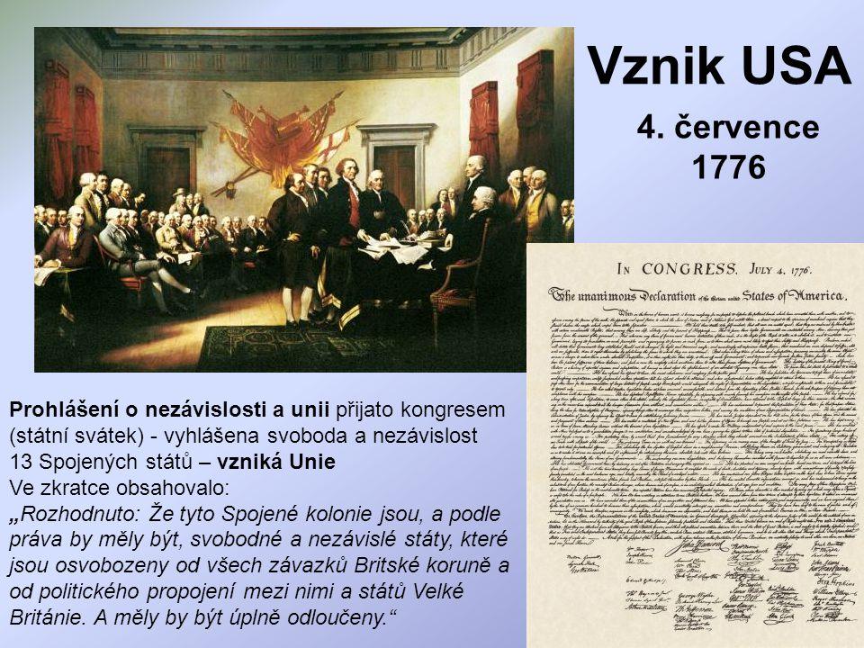 Vznik USA 4. července 1776.