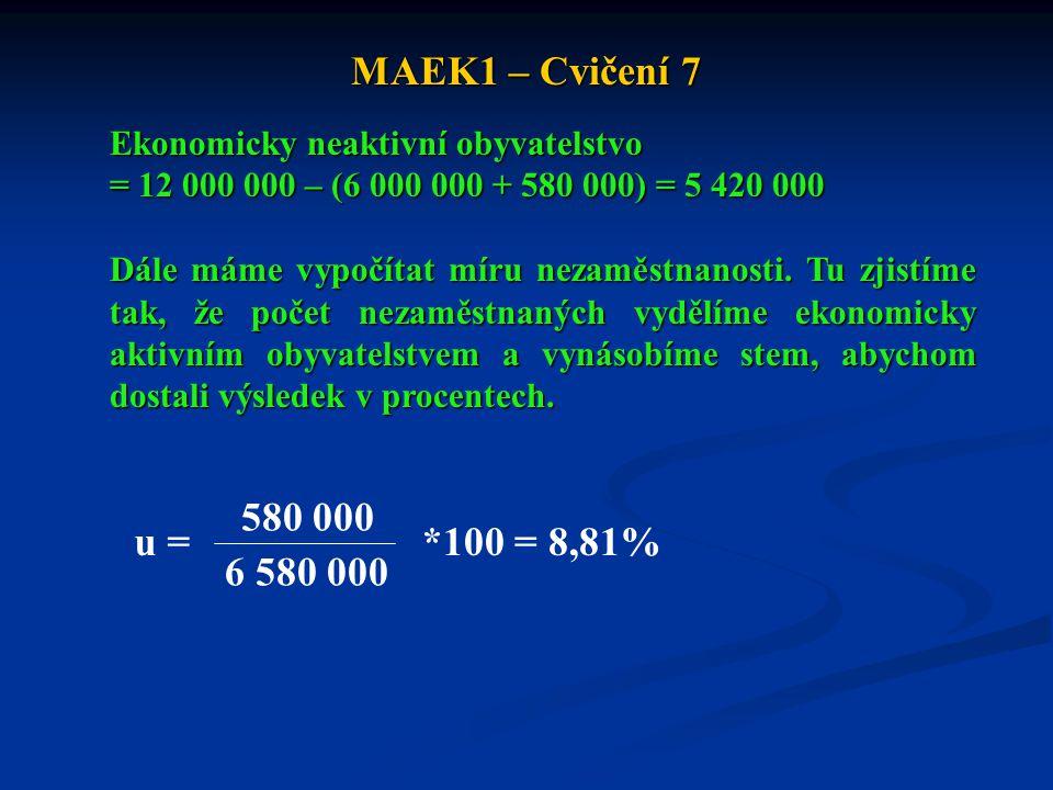 MAEK1 – Cvičení 7 Ekonomicky neaktivní obyvatelstvo. = 12 000 000 – (6 000 000 + 580 000) = 5 420 000.