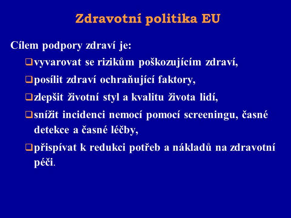 Zdravotní politika EU Cílem podpory zdraví je: