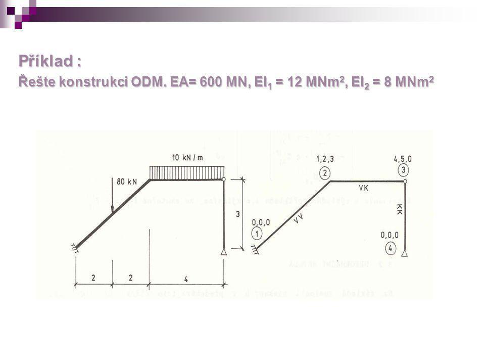 Příklad : Řešte konstrukci ODM. EA= 600 MN, EI1 = 12 MNm2, EI2 = 8 MNm2