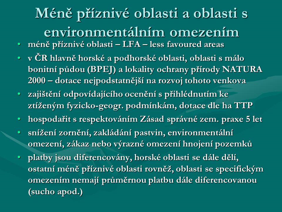 Méně příznivé oblasti a oblasti s environmentálním omezením