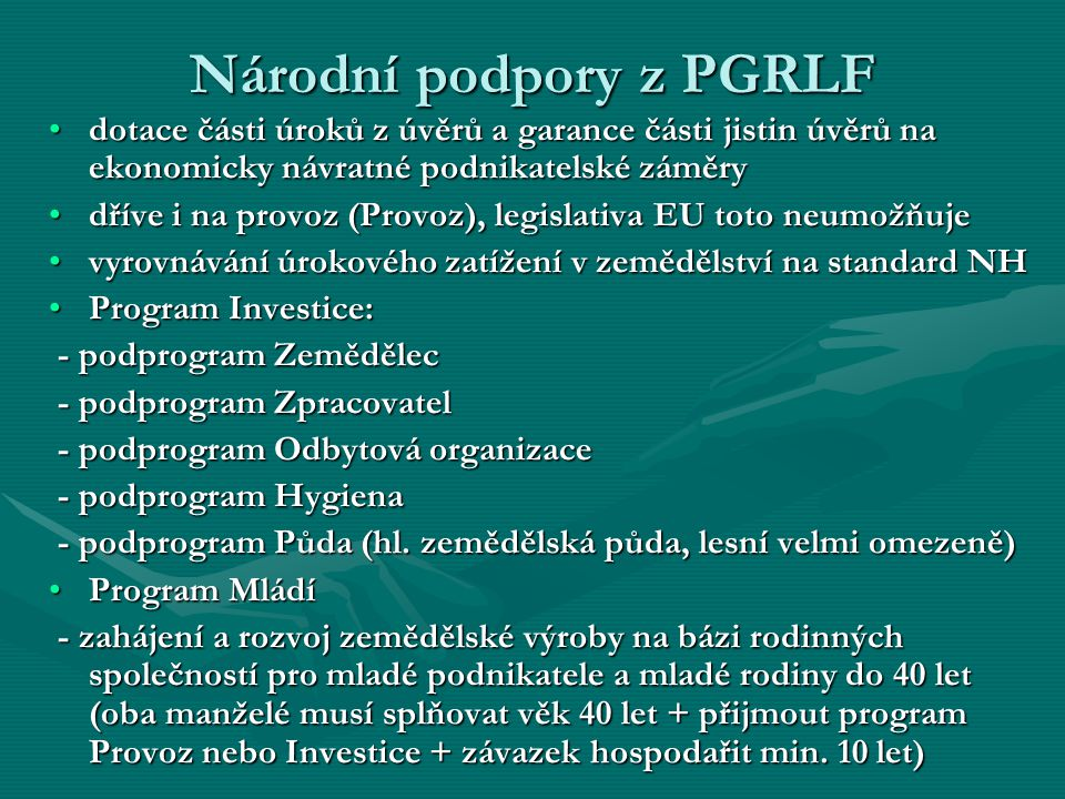Národní podpory z PGRLF