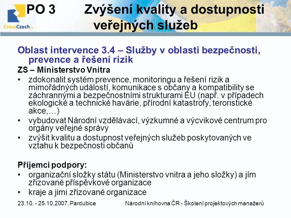 PO 3 Zvýšení kvality a dostupnosti veřejných služeb