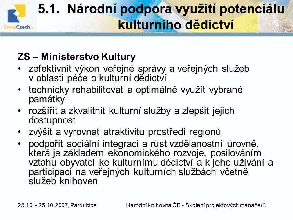 5.1. Národní podpora využití potenciálu kulturního dědictví
