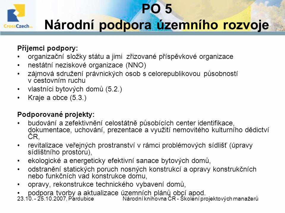 PO 5 Národní podpora územního rozvoje