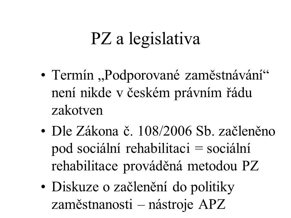 """PZ a legislativa Termín """"Podporované zaměstnávání není nikde v českém právním řádu zakotven."""