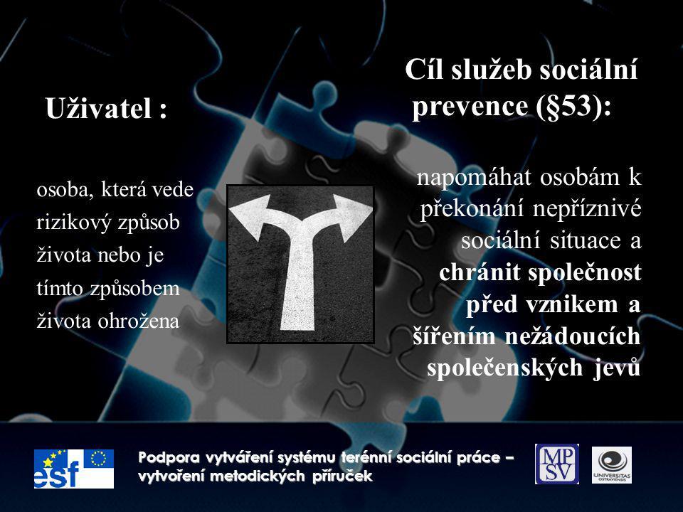 Cíl služeb sociální Uživatel : prevence (§53):