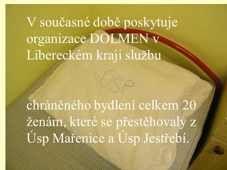 V současné době poskytuje organizace DOLMEN v Libereckém kraji službu chráněného bydlení celkem 20 ženám, které se přestěhovaly z Úsp Mařenice a Úsp Jestřebí.
