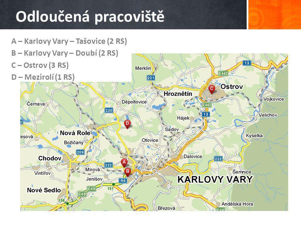 Odloučená pracoviště A – Karlovy Vary – Tašovice (2 RS) B – Karlovy Vary – Doubí (2 RS) C – Ostrov (3 RS) D – Mezirolí (1 RS)