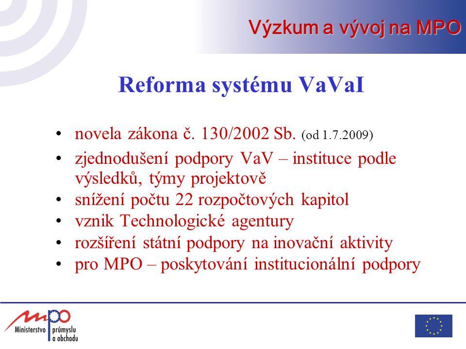 Reforma systému VaVaI Výzkum a vývoj na MPO