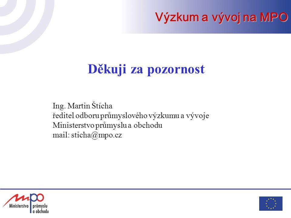 Děkuji za pozornost Výzkum a vývoj na MPO Ing. Martin Štícha