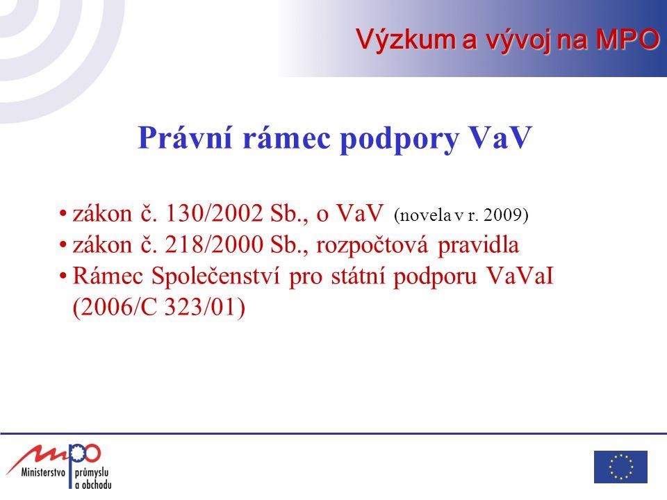 Právní rámec podpory VaV