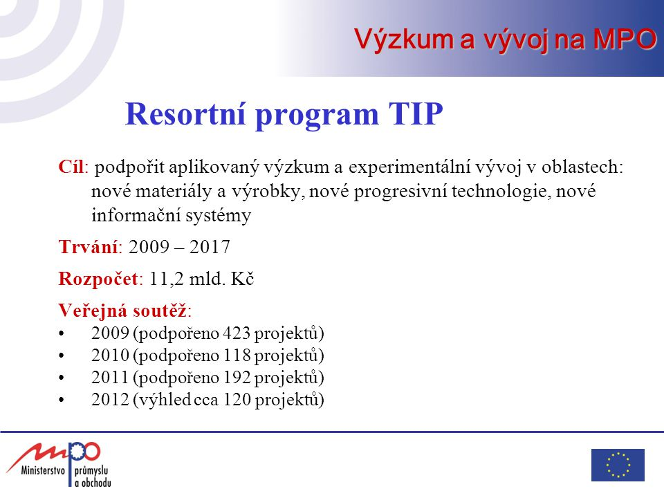 Resortní program TIP Výzkum a vývoj na MPO