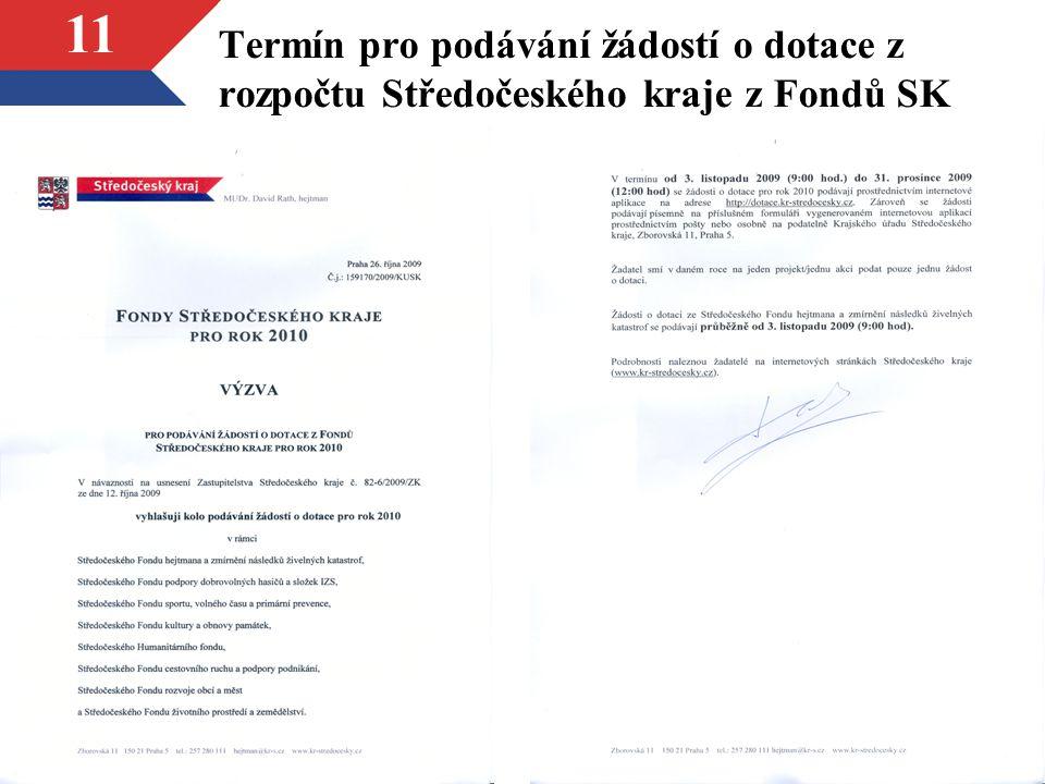 Termín pro podávání žádostí o dotace z rozpočtu Středočeského kraje z Fondů SK