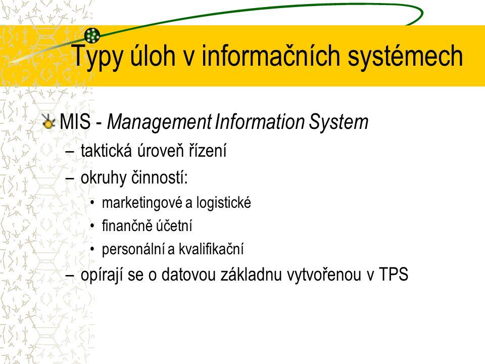 Typy úloh v informačních systémech