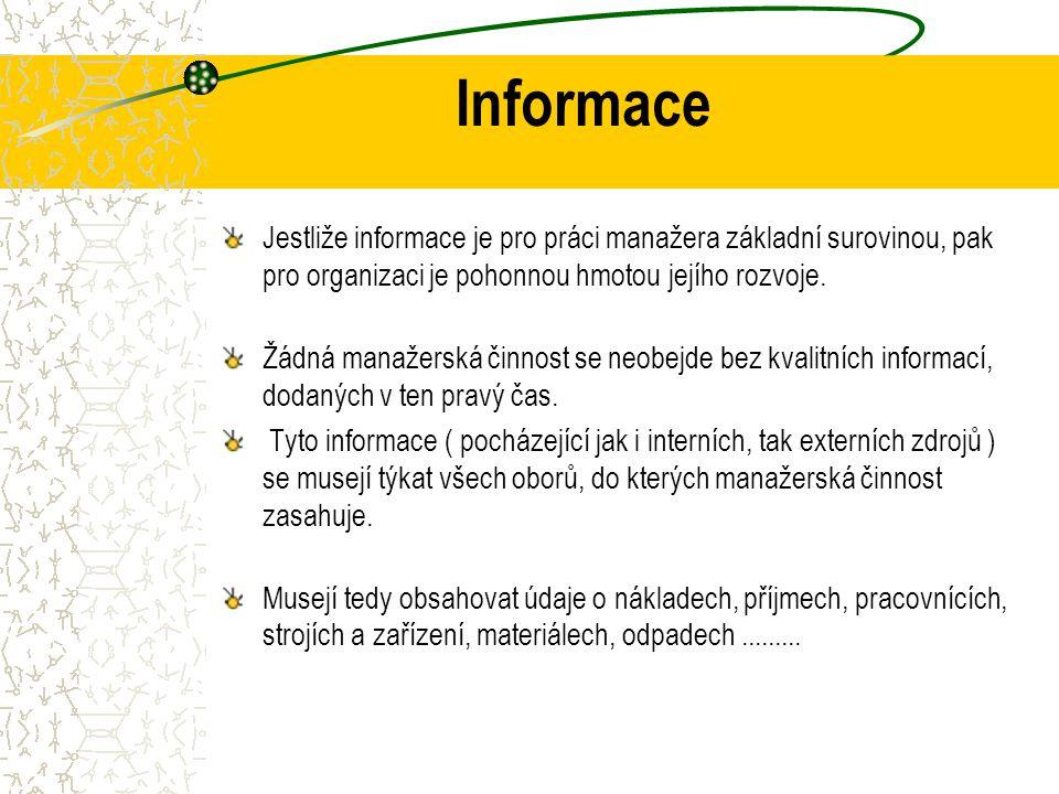 Informace Jestliže informace je pro práci manažera základní surovinou, pak pro organizaci je pohonnou hmotou jejího rozvoje.