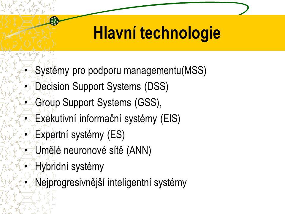 Hlavní technologie Systémy pro podporu managementu(MSS)