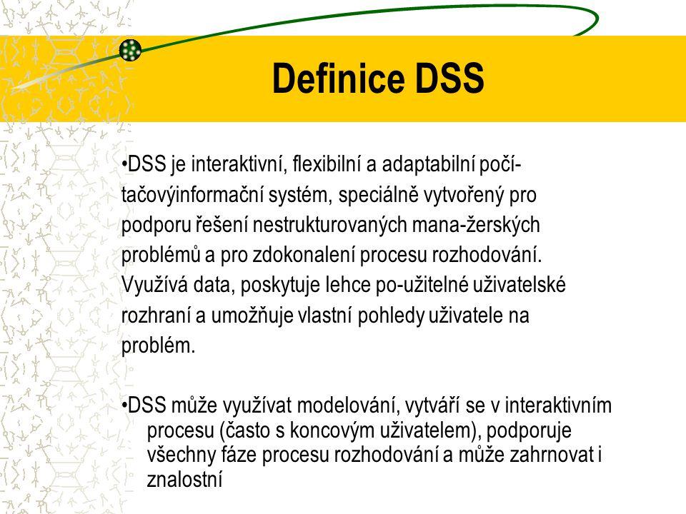 Definice DSS •DSS je interaktivní, flexibilní a adaptabilní počí-