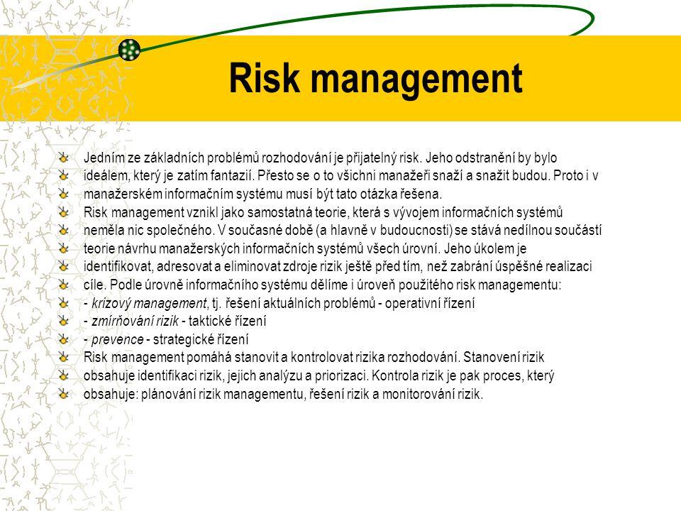 Risk management Jedním ze základních problémů rozhodování je přijatelný risk. Jeho odstranění by bylo.