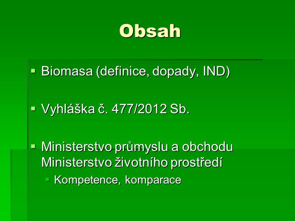 Obsah Biomasa (definice, dopady, IND) Vyhláška č. 477/2012 Sb.