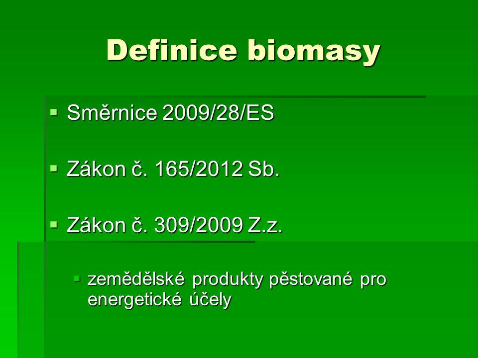 Definice biomasy Směrnice 2009/28/ES Zákon č. 165/2012 Sb.