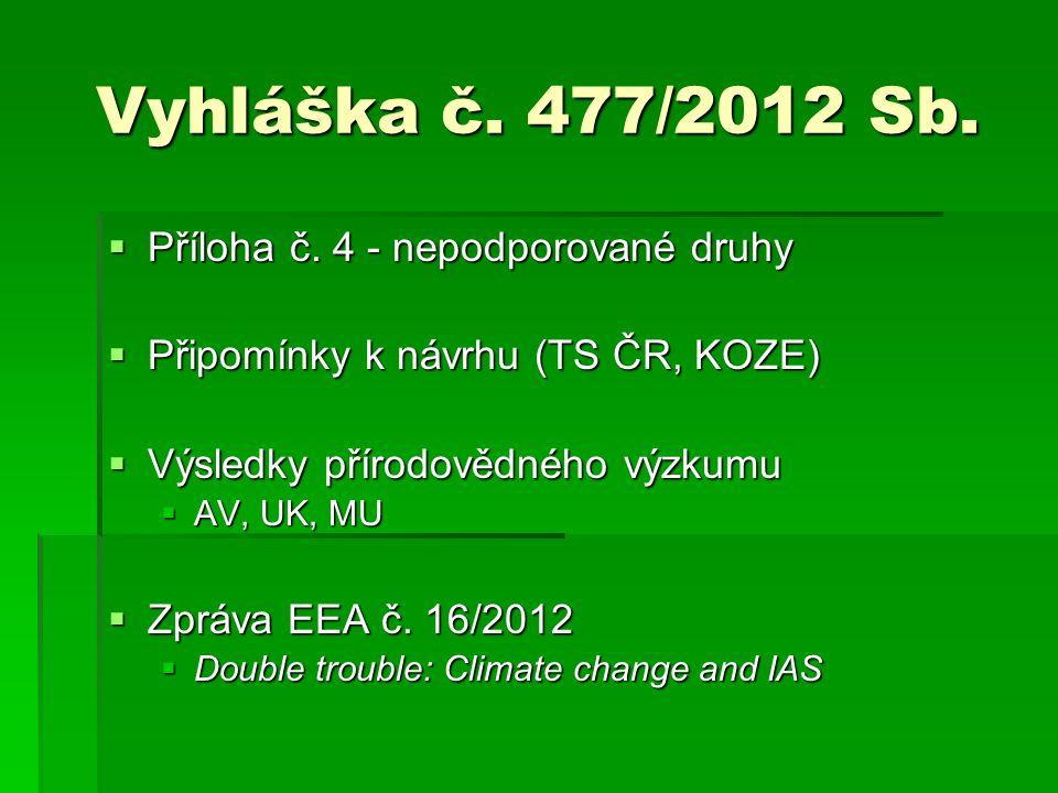 Vyhláška č. 477/2012 Sb. Příloha č. 4 - nepodporované druhy