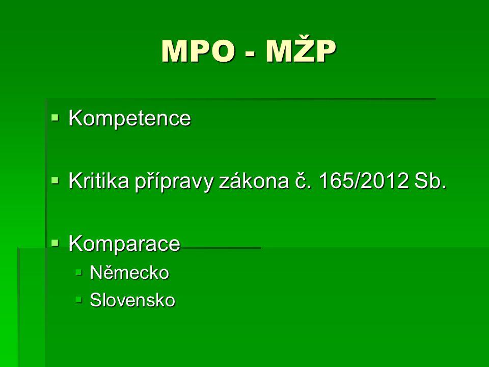 MPO - MŽP Kompetence Kritika přípravy zákona č. 165/2012 Sb. Komparace