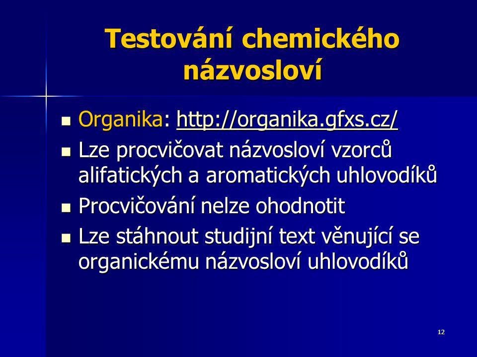 Testování chemického názvosloví