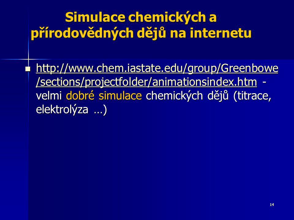 Simulace chemických a přírodovědných dějů na internetu